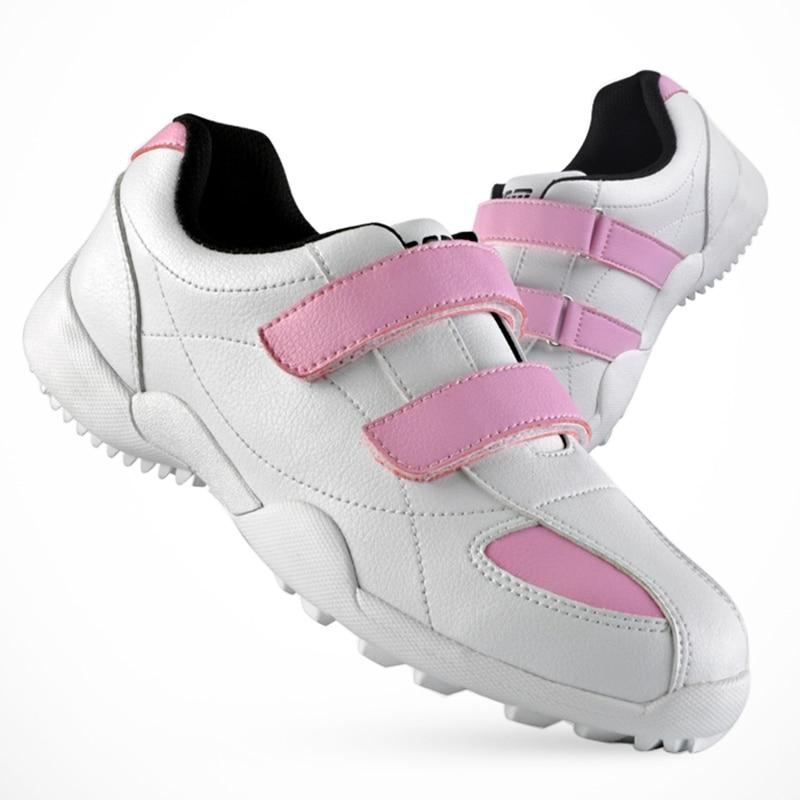 Women Leather Golf Shoes Hoop&loop Waterproof Female Sports Shoes Golf Flat Shoes Breathable Mesh Lining Sneaker