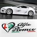 Nueva Etiqueta Engomada Divertida Del Coche 3D venta caliente ~ Alfa Romeo delta verde quatrefoil Side Car Fender Emblem Badge Sticker