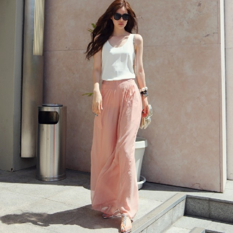 Fashion Women Pink Black   Wide     Leg     Pants   Vintage Casual Loose Elastic Waist Trousers Chiffon Solid Long   Pants   Oversized
