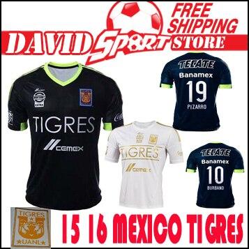 defdaed4e Club tigres jersey 2015 soccer mexico tigres uanl soccer jersey 2016 home  Black White football shirt 15 16 GUERRON PIZARRO SOBIS