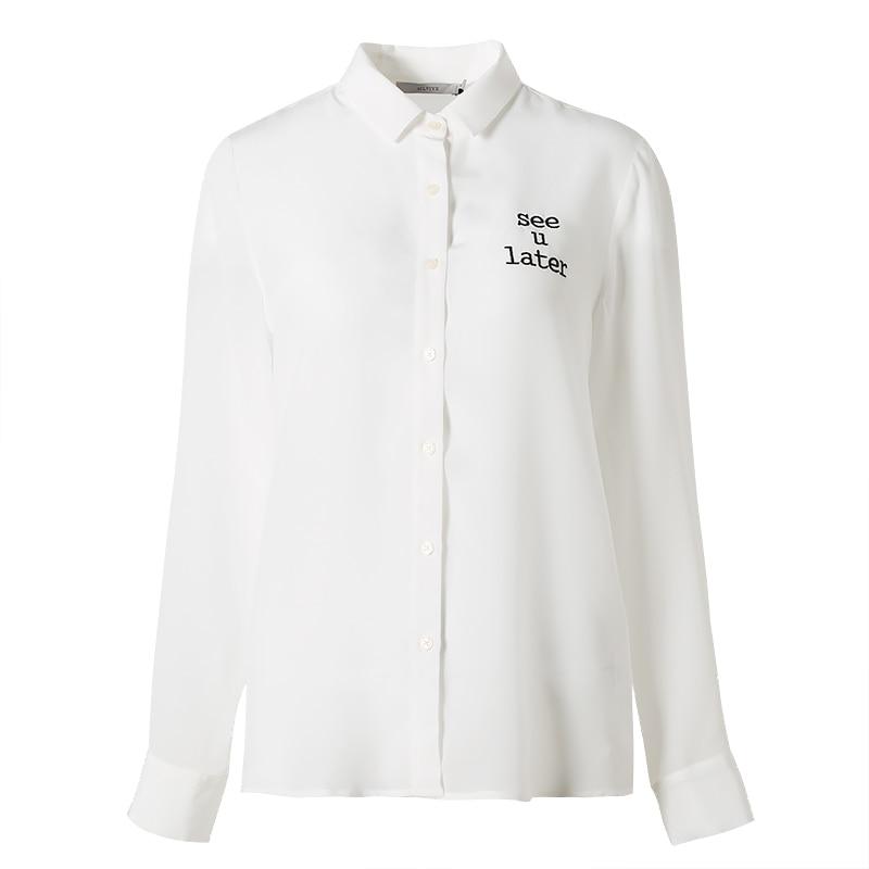 De Mujeres Lady Manga Carta Otoño Camisa Office Top Seda Blusa Larga 19mm 100 Bordado Invierno Blanco 2018 Real 115Uq
