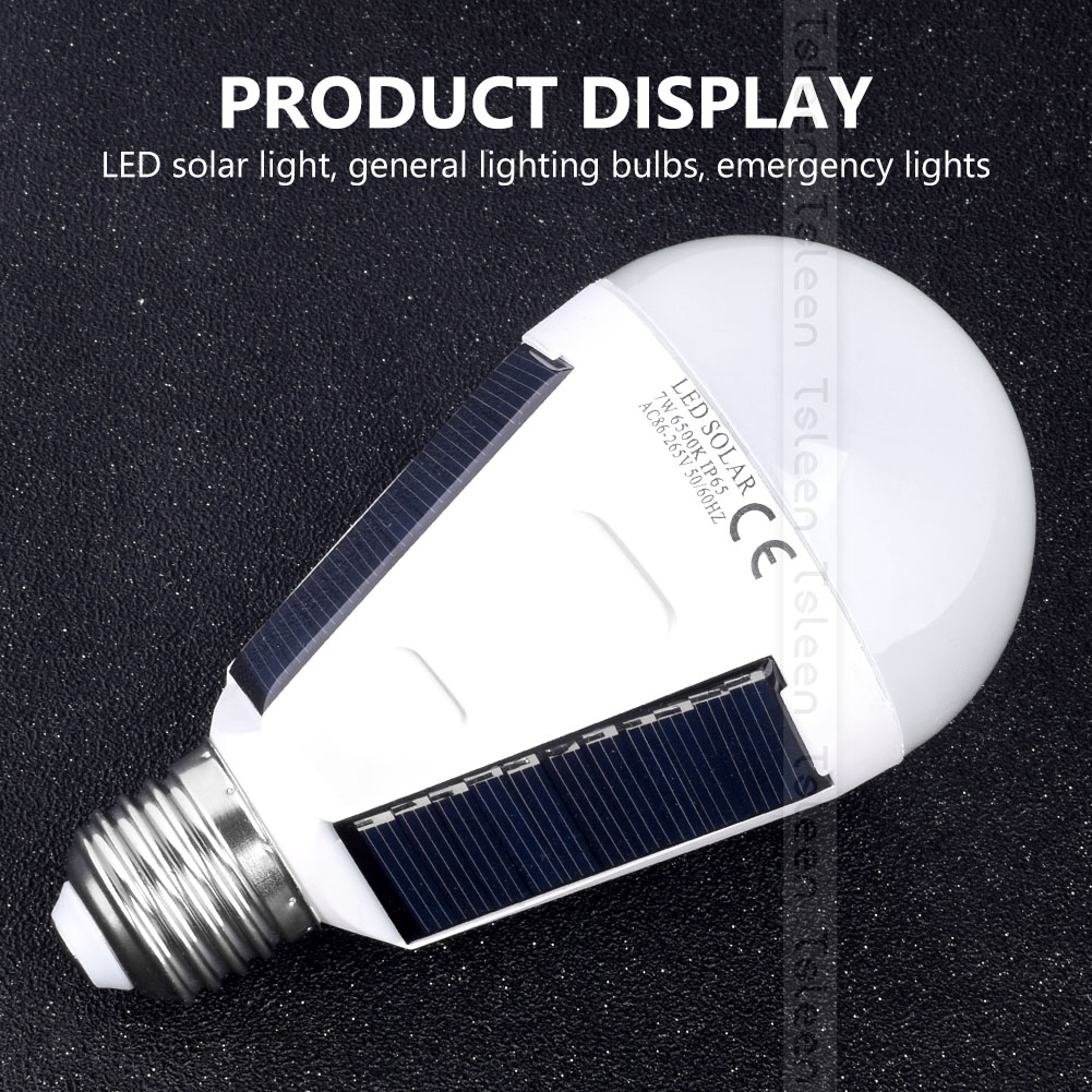 Portable E27 Rechargeable LED Solar lamp 7W 12W 85V-265V Smart Power Outages Emergency Bulb Camping Hiking Fishing Outdoor light