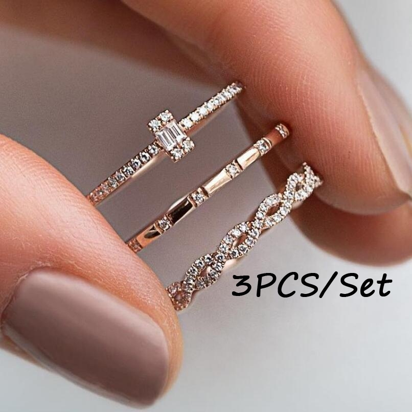 3pcs/Set Charm Crystal Thin Stackable Twist Ring Set Ladies Single Stone Engagemen Wedding Ring Flash  Inlaid Ring(China)