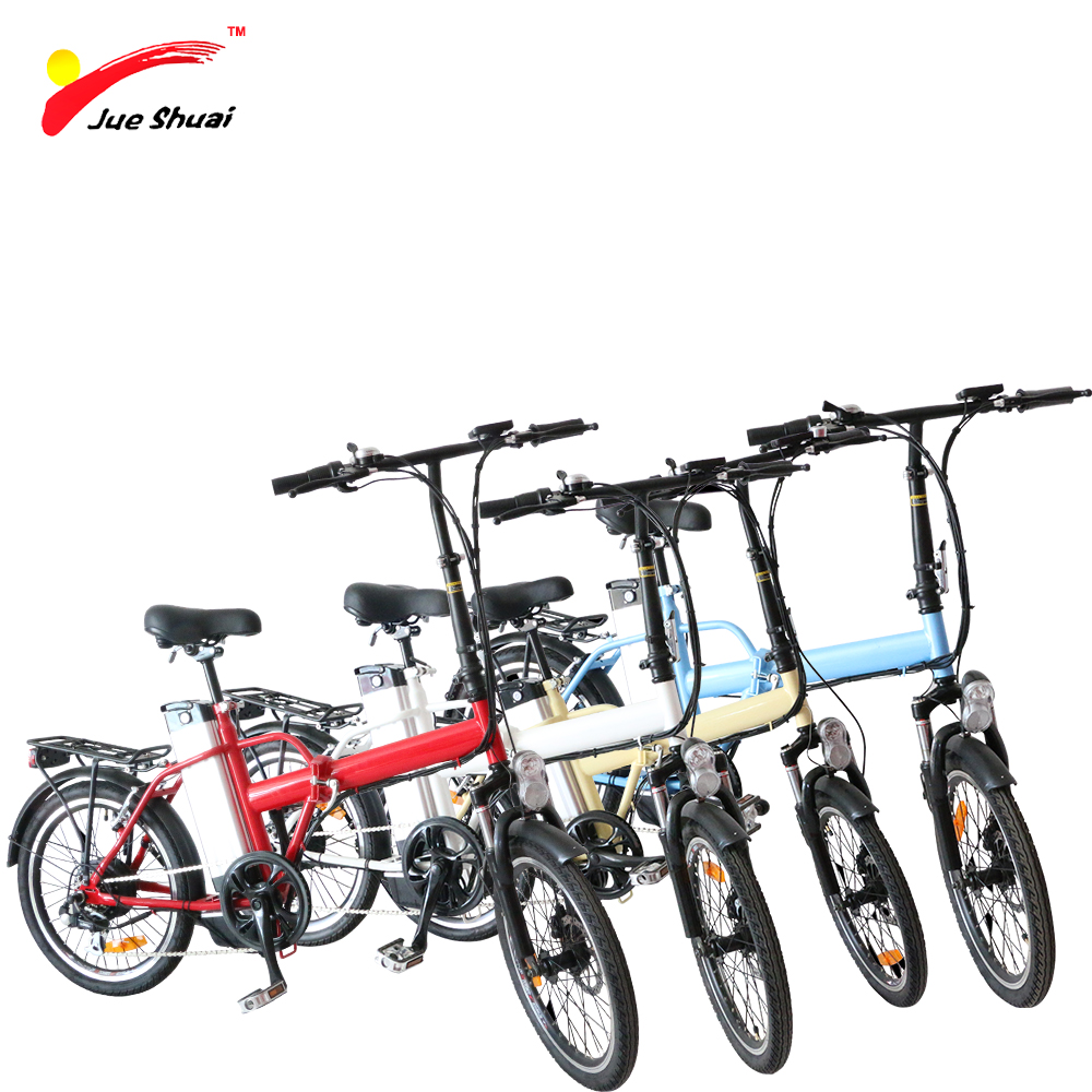 JS Lightweight 20 Folding Electric Bike with 250W Brushless Motor 36V10Ah lithium Battery Steel Suspention Fork Disc Brake Bike electric bike battery 36v10ah with customized dimension