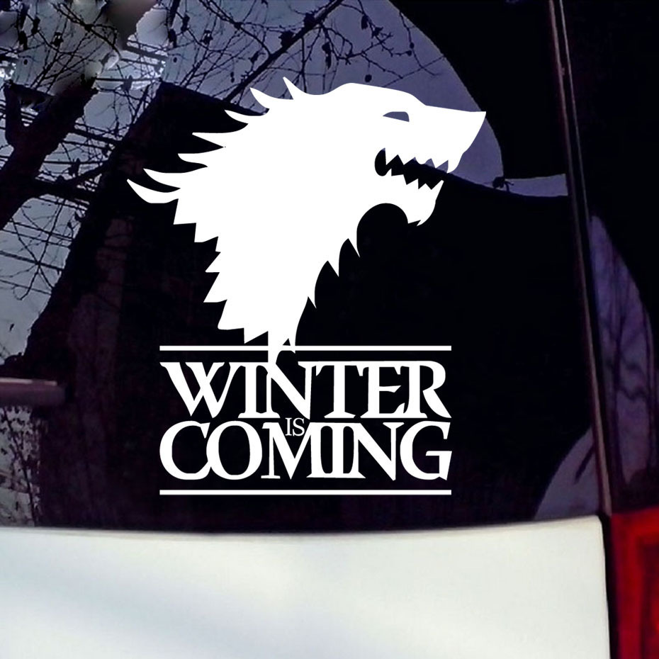 16*14cm Motorcycle Sticker Winter Is Coming Wolf Game of Thrones Car Sticker Wall Decorative Wolf Car Reflective Window Stickers car