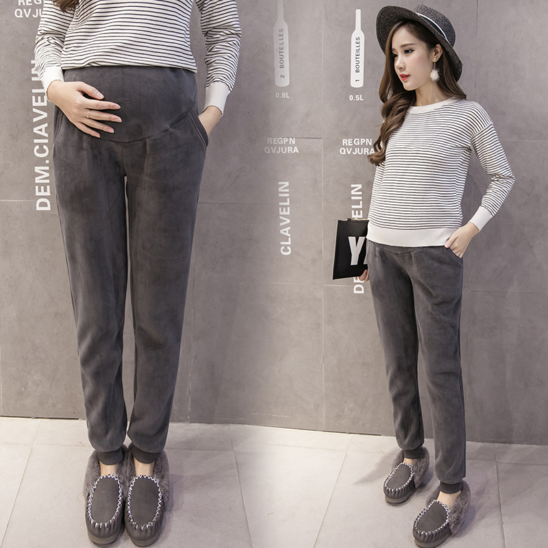 d644fa3e4bc572 Pengpious 2019 winter wool thick pregnant belly pants solid color high  waist good quality long loose