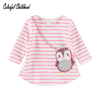 Autumn Girls stripe T-shirt little girls long sleeve cartoon Owl stripe blouses kids Tops Children clothing