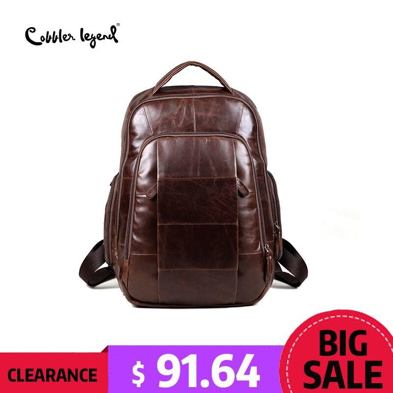 Cobbler Legend Brand 2018 Retro Style back pack Charming Genuine Leather Teenage Boys's Men 's Laptop Bag Backpacks For Men