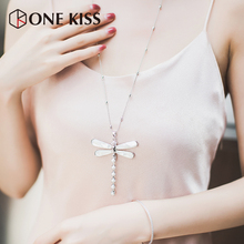 Elegant Women Necklaces Silver Color Long Chain Necklaces White Imitated Pearl Dragonfly Insects Pendants Summer Jewelry Party