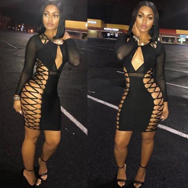2017 black long sleeve bandage dress sexy mesh see through vestidos women summer dress night club celebrity party dresses