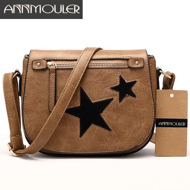 e5c16ba94 Annmouler Women Shoulder Bag High Quality Leather Purse Star Patchwork  Messenger Bag Small Zipper Crossbody Bag