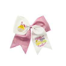 Adogirl 6pcs 7 Custom Cartoon Embroidery Sparkling Ribbon Hairgrips School Girls Unicorn Party Hair Bows Accessories