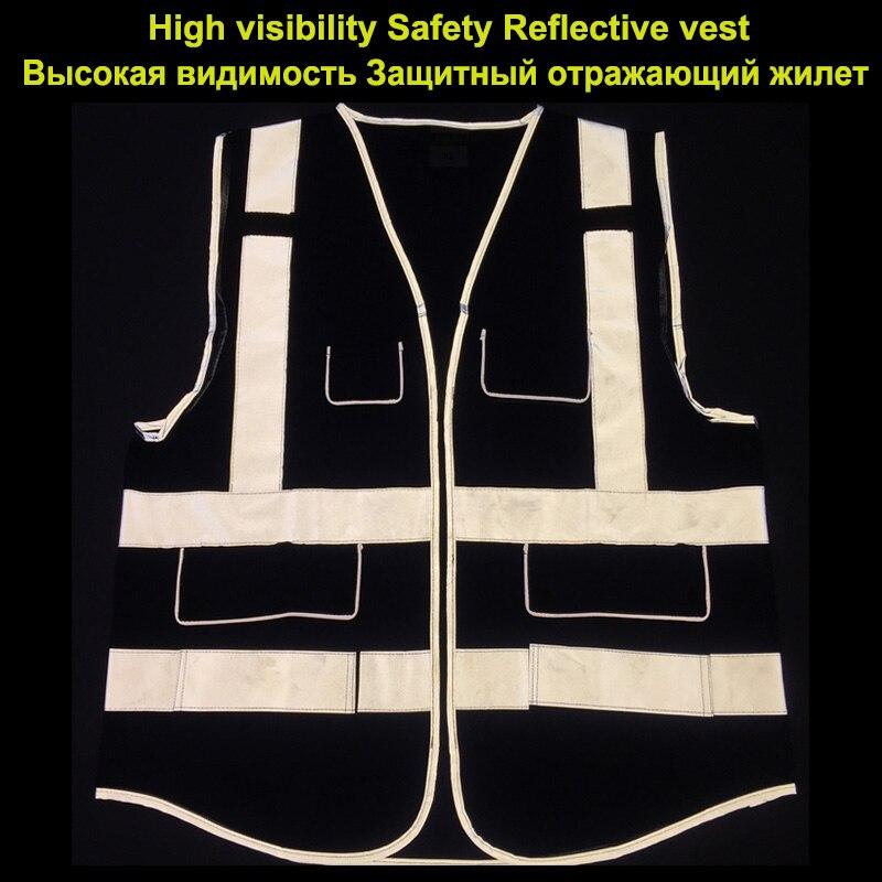 Hi vis blue reflective safety vest waistcoats with pockets workwear safety waistcoats with reflector stripes New arrival цена