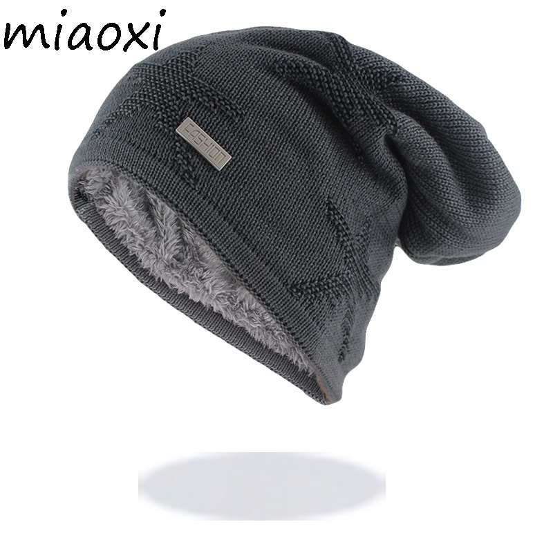 New Winter Warm Men Hat For Adult Male Wool Fashion Beanies Knit Thick Hats Soft Bonnet Cotton Brand Star Caps
