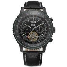 JARAGAR Мужские Часы Кожаный Ремешок Большой Циферблат Tourbillon Автоматические Механические Мужские Наручные Часы horloges mannen