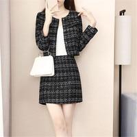 Runway Two Piece Set Tweed Skirt Suit Women Short Wool Jacket Basic Coat Outwear High Waist Mini Skirt Women Suits N828