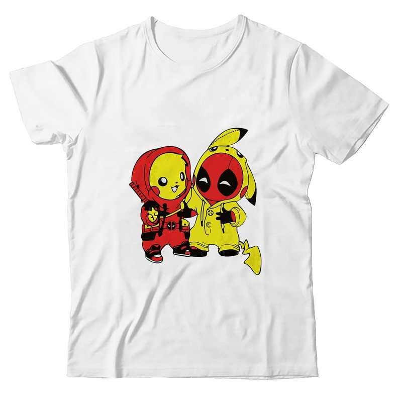 Dibujos Animados Pikachu Deadpool Groot Batman patrón más tamaño suelto cuello redondo Modal manga corta hombres moda Casual camisetas A19516