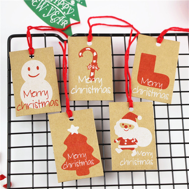 merry christmas kraft paper tag swing tag label happy new year gift tag insert tag
