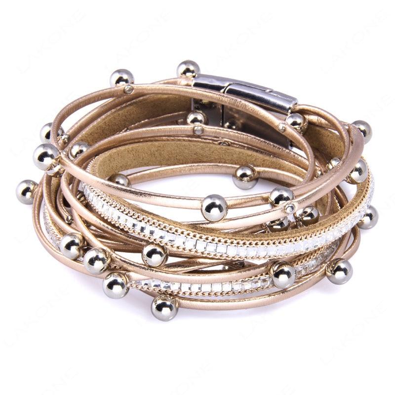 Lakone Дизайн Мода шарик несколько слоев браслет для Для женщин Для мужчин Кожаные браслеты и браслет новый Femme вечерние украшения