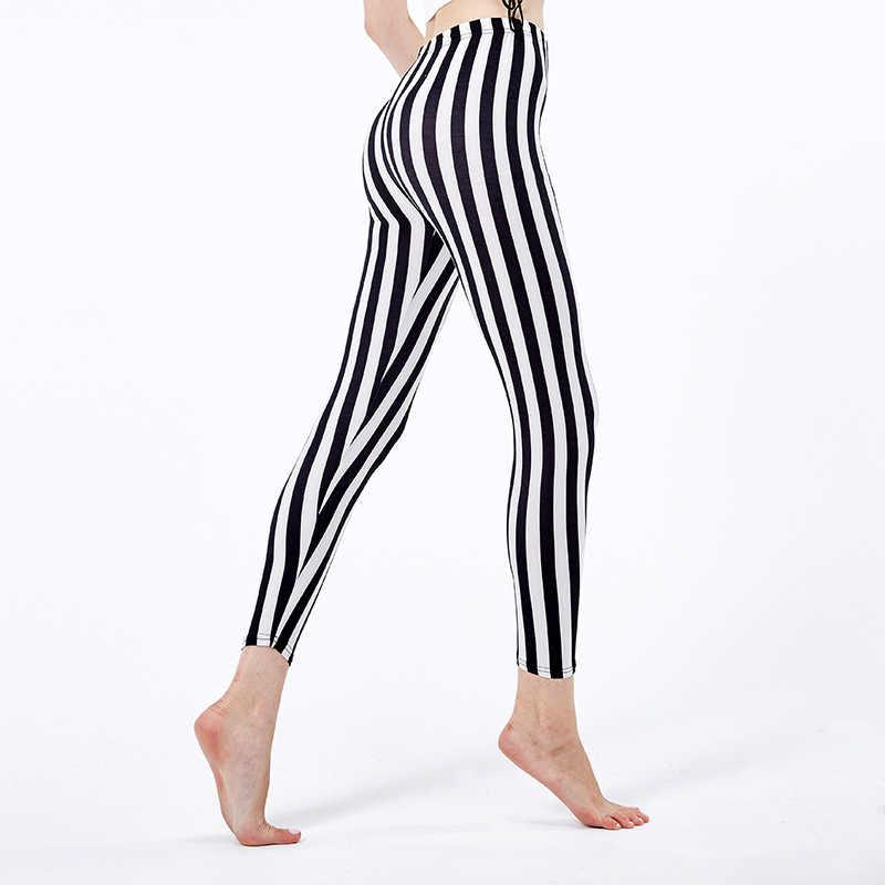 dffccc6f59 free shipping high waist black white striped leggings stretchy ...
