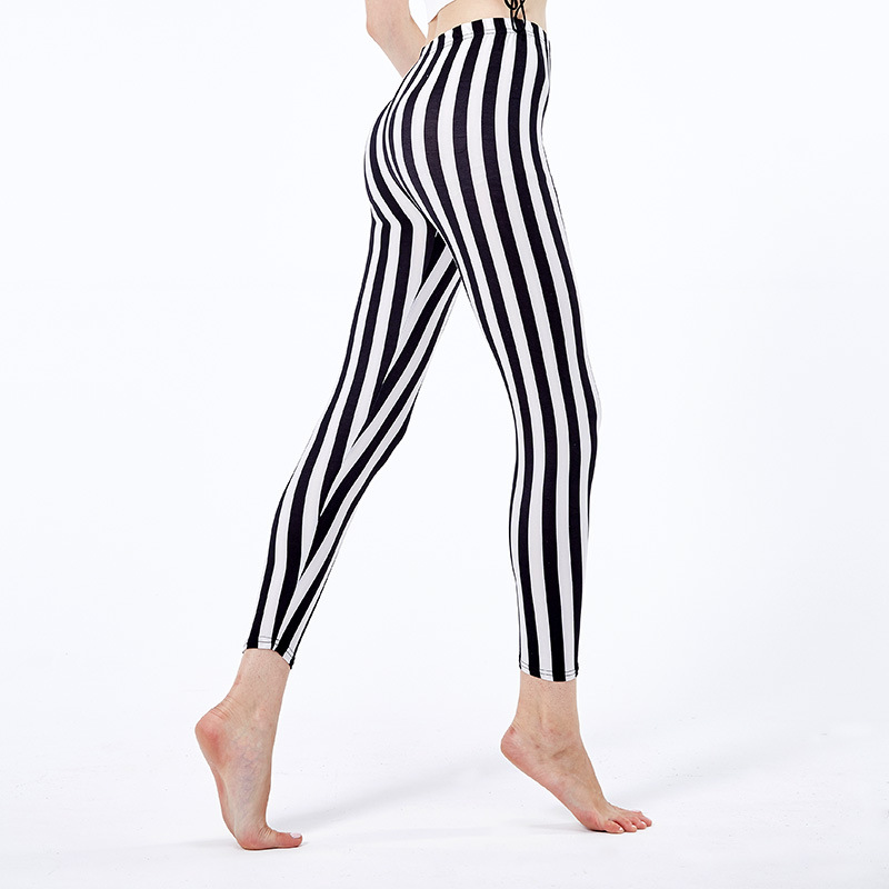 Ladies White Black Circus Vertical Striped   Leggings   Summer Buttery Soft Basic Spandex Casual   Leggings   Women Workout   Leggings