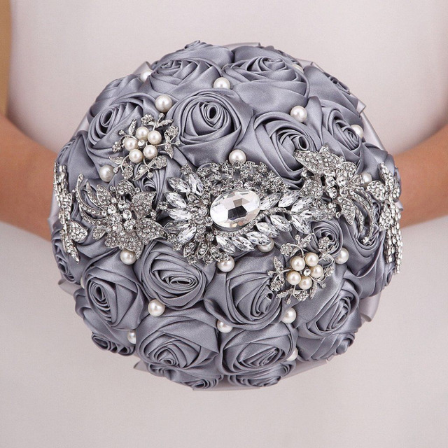 Custom Made Gray Artificial Wedding Flowers Bridal Bouquets Buque De Noiva Bouquet De Mariage Bruidsboeket Wedding Bouquet 2017