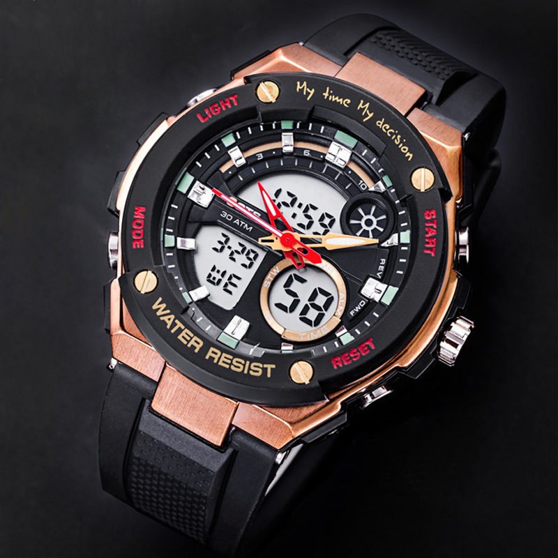Mens Watches OTS Top Luxury Brand Men Electronic Digital LED Watches Quartz Watch Waterproof Sports Army Military WristWatches