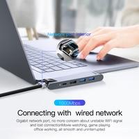 Baseus USB C HUB USB HUB to USB 3.0 HDMI-compatible Adapter for MacBook Pro Air HUB TB 3 Dock RJ45 USB Splitter Dual Type C HUB