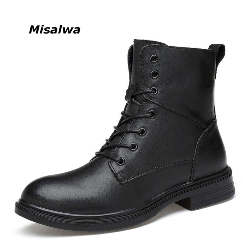 Misalwa Hommes de Noir Bottes Mâle Classique En Cuir Véritable Naturel Cheville Unisexe Dentelle-jusqu'à Combat Bottes Hiver Neige Chaussures dropshipping