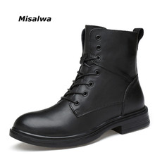 Misalwa Men's Black Boots Male Classic Genuine Natural Leather Ankle Unisex Lace-up Combat Boots Winter Snow Shoes Dropshipping
