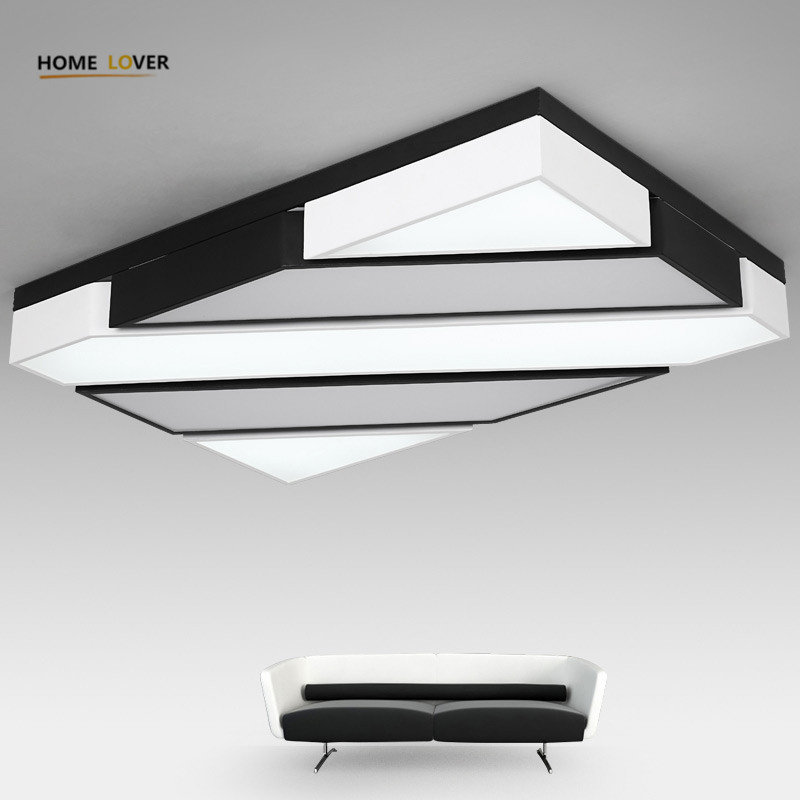 New Dsigner LED ceiling lights black white lamparas de techo metal frame with acrylic cover bedroom dinning lighting fixtures