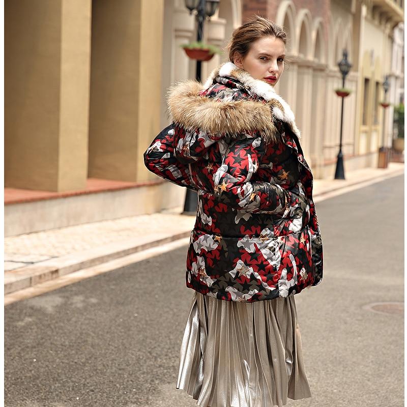 long Parka Red Manteau 2018 Épaisse Plein Camouflage Vraie À Milieu Nouveau Capuche Veste De Rouge Oversize Fourrure Vestes Conception Femmes Hiver 87xpRqzfq