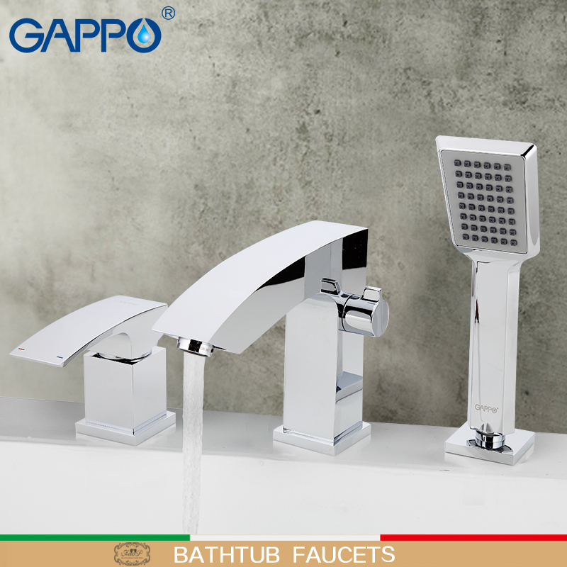 GAPPO Bathtub Faucet Mixer Bathroom Waterfall Bathtub Faucet Deck Mounted Mixer Bath Tap Rainfall Bathroom Faucets