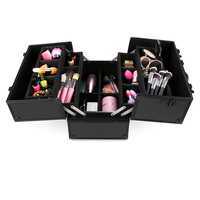 Homdox Portable Cosmetic Box Extendable Makeup Train Case Jewelry Box Lockable Makeup Storage Holder Organizer N25*