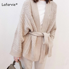 Lafarvie Autumn Winter Cashmere Blended Knitted Sweater Cardigan Women Tops Long Sleeve Sashes Thick Warm Open Stitch
