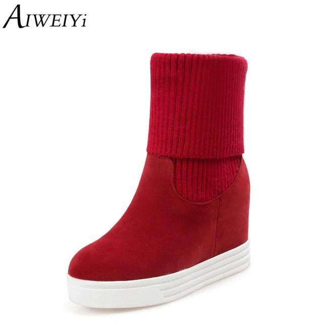AIWEIYi Çorap Kama Ayakkabı Kadın Akın Cilt Yuvarlak toe Yüksek Topuklar Ayakkabı Kadın Kürk Üzerinde Kayma Sonbahar Kış Çizmeler botas