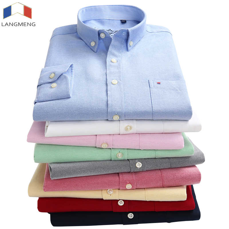 Langmeng New Arrival 60% Cotton Mens Oxford Casual Shirts Spring 2018 Long Sleeve Slim Fit Striped Dress Shirt Men Plus Size 5XL