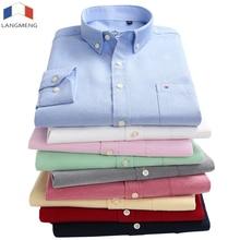 Lang men g Новое поступление 60% хлопок Мужские Оксфордские повседневные рубашки Весна 2018 с длинным рукавом приталенная полосатая рубашка для мужчин размера плюс 5XL