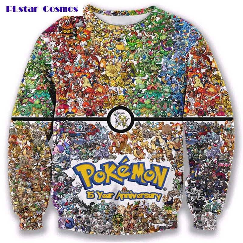 PLstar Cosmos 2017 New 3d Sweatshirt Pokemon Crewneck pullover Women Men 90s video game and anime Sweats jumper Fashion clothes