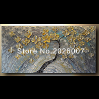Handmade ORIGINAL Painting 24x48 Gold Silver Flower Grey Blue Abstract Painting Art Canvas oil Wall Decor Artwork Impasto