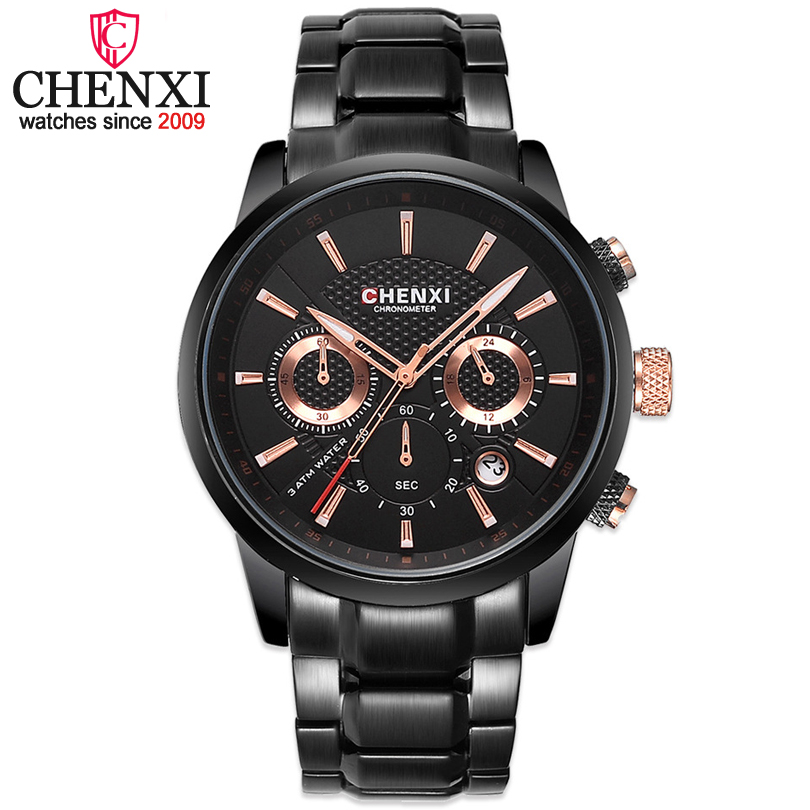 New CHENXI Brand Watches Men Fashion Watch Male Quartz Black Steel Straps Wristwatches Military Sports watch Waterproof Top Hot 2016 new hot sale brand magic star black white analog quartz bracelet watch wristwatches for women girls men lovers op001