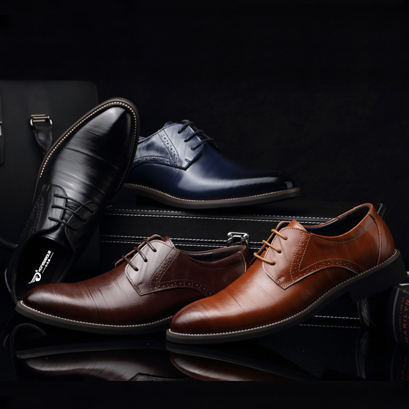 MXL Mens Classic PU Leather Brogue Shoes Classic Lace Up Breathable Formal Business Lined