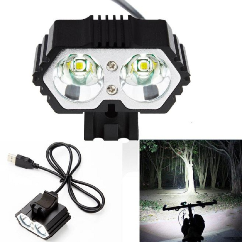 6000LM 2 X CREE XM-L <font><b>T6</b></font> <font><b>LED</b></font> USB Waterproof Lamp Bike <font><b>Bicycle</b></font> Headlight <font><b>bicycle</b></font> <font><b>lights</b></font> bike <font><b>light</b></font> lamp outdoor cycling camoing image