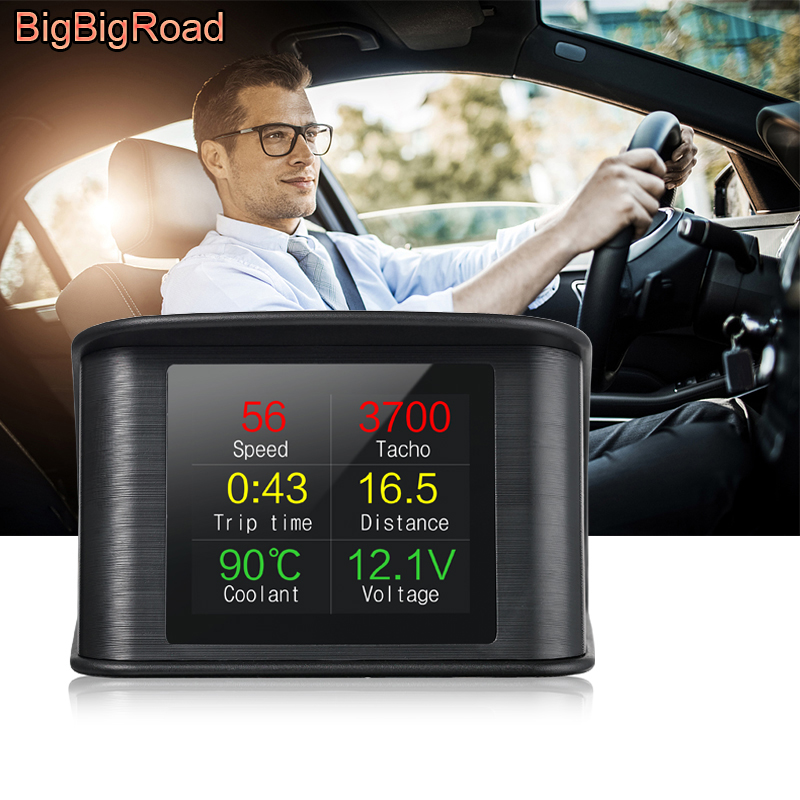 купить BigBigRoad For Peugeot 206 207 407 408 301 508 2008 307 308 3008 4008 5008 Car Hud OBDII 2 Windscreen Projector Head Up Display онлайн