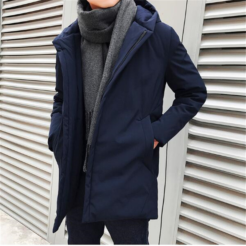 Free shipping 2017 Winter Long Windbreaker Solid Color Down Jacket Young Men Hooded Korean Thick Warm Casual Tide Cotton new arrival 2017 men autumn and winter warm windbreaker long sleeves solid color hooded sports quick drying softshell men 150