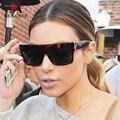 Meguste черный квадрат негабаритных роскошные Ким Кардашян солнцезащитные очки женщин Бренда Designer. lunette de soleil femme UV400.