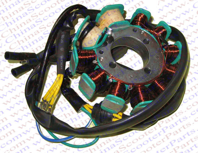 magneto stator 11 pole coil 7 wire 200c 250cc cg bashan shineray, Wiring diagram