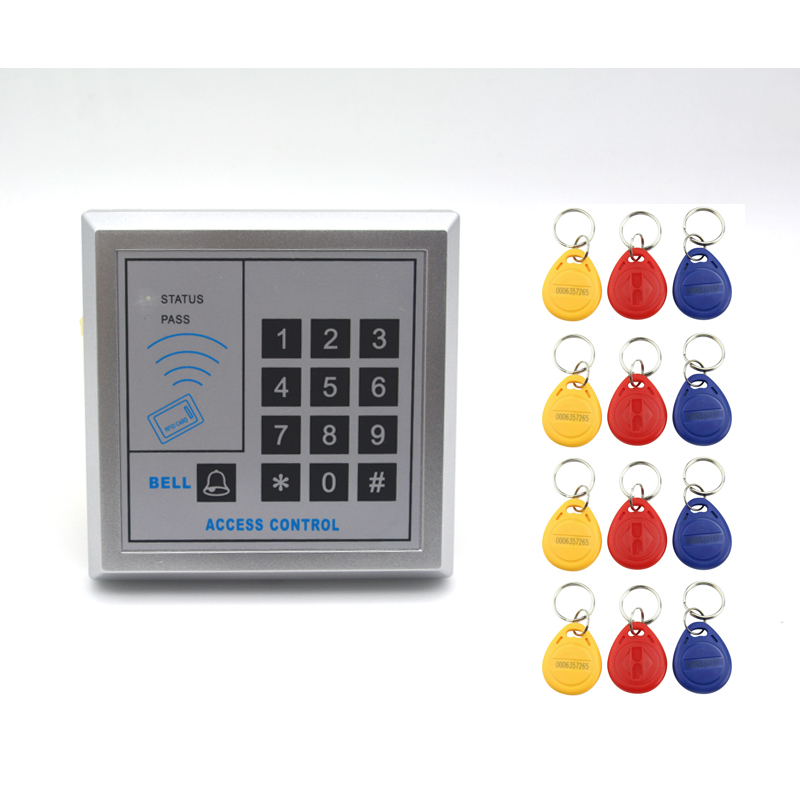 Security RFID Entry Door Lock Access Control System Numeric Keypad Code and ID Card Unlock with 12pcs Keyfobs rfid entry door lock id card access control system home office security 10 keys use for any need to access control channel