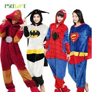 Image 1 - Flannel Kigurumi Adults Pajamas Women Men Pyjama Super hero Iron Superman Spiderman Batman Cosplay Onesies Anime Sleepwear