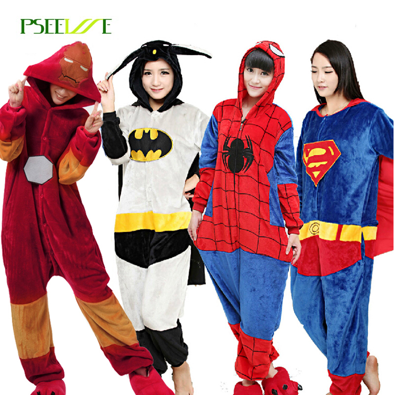 Kigurumi Flannel Adults Pajamas Pyjama Super Hero Adult Winter Iron Superman Spiderman Batman  Cosplay Onesies For Women Men